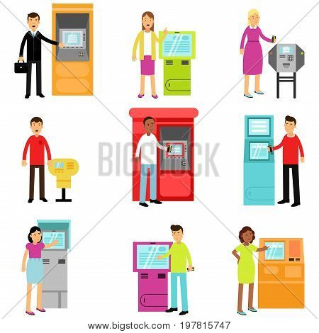 People doing ATM machine money deposit or withdrawal set, man and woman using ATM terminal colorful vector Illustrations isolated on white background