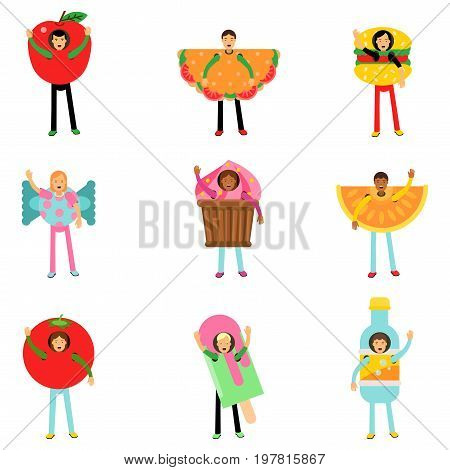 People wearing fast food healthy snacks costumes set, men and women advertising menu of restaurants and cafes colorful characters vector Illustrations isolated on white background