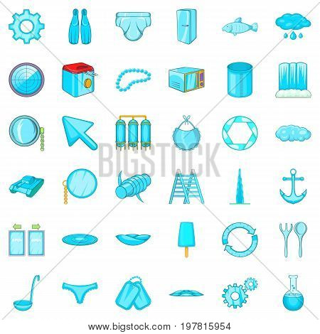 Blue thing icons set. Cartoon style of 36 blue thing vector icons for web isolated on white background