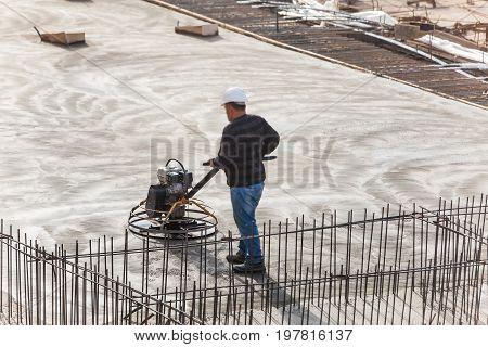 grinding finishing of the concrete surface  polishing