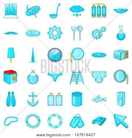 Blue accessories icons set. Cartoon style of 36 blue accessories vector icons for web isolated on white background