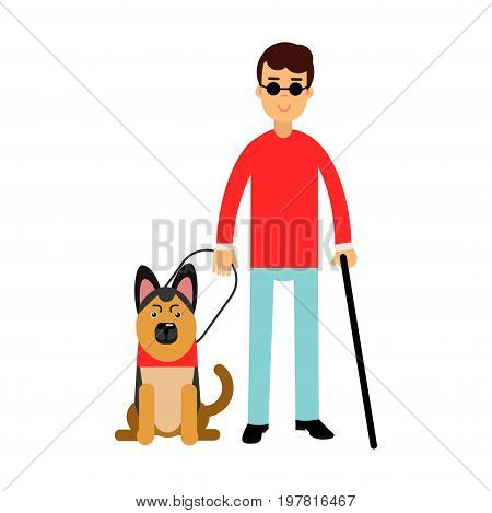 Blind man in dark glasses with walking stick and his dog colorful vector Illustration on a white background
