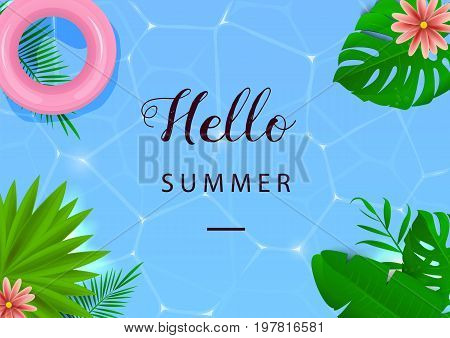 Hello summer. Vector illustration. Top view. Swimming pool. Tropical leaves Pool water