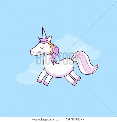 Unicorn icon. Vector illustration. Cute simple unicorn on blue background.