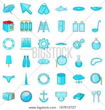 Different blue icons set. Cartoon style of 36 different blue vector icons for web isolated on white background