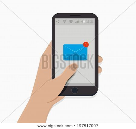 Hand holding smartphone. Vector illustration. White background. Newsletter icon. Notification symbol. Simple flat style. New message