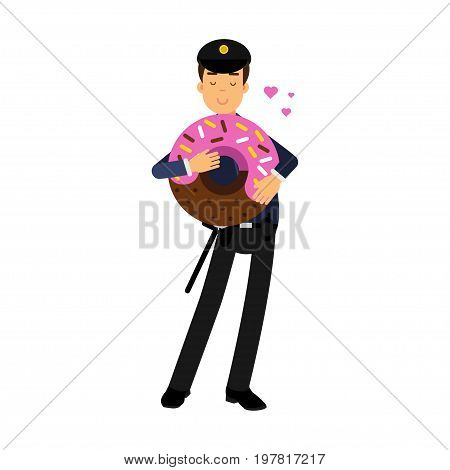 Policeman character in a blue uniform standing and holding big pink glazed donut vector Illustration on a white background