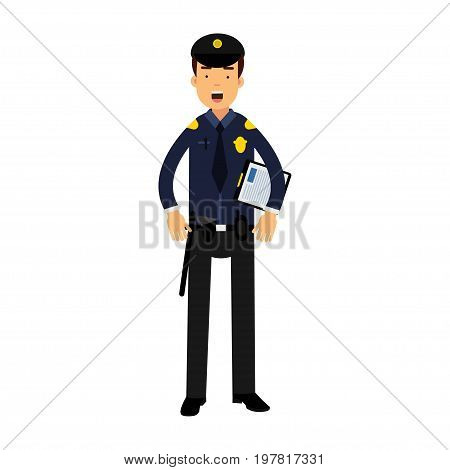 Police officer character in a blue uniform holding clipboard vector Illustration on a white background