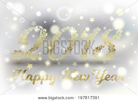 Shiny golden numbers. Winter and snow background. 2018 Happy New Year. Holiday banner. Festive premium design for holiday greeting card, invitation, calendar, poster. Khokhloma. Leaf with swirls.
