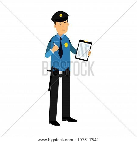 Police officer character in a blue uniform holding clipboard with form for police report vector Illustration on a white background