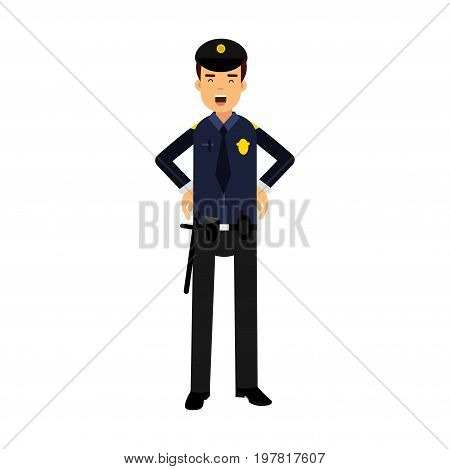 Police officer character in a blue uniform at work vector Illustration on a white background