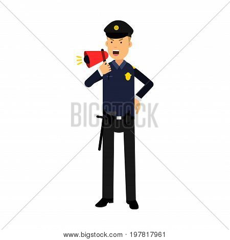 Police officer character in a blue uniform shouting using megaphone colorful vector Illustration on a white background