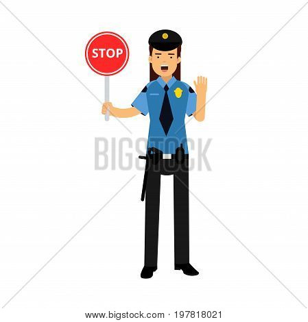 Policewoman character in a blue uniform showing Stop road sign vector Illustration on a white background