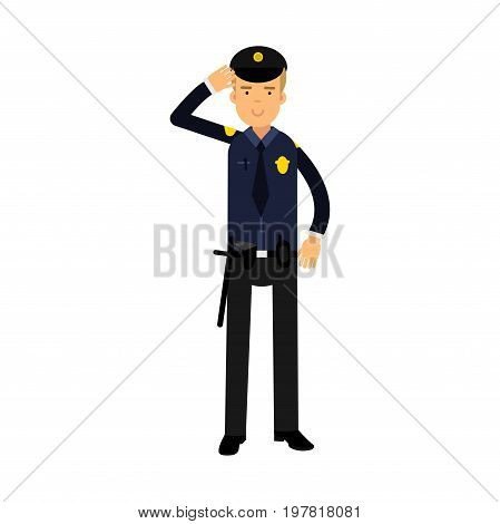Police officer in a blue uniform standing at attention saluting, colorful character vector Illustration on a white background