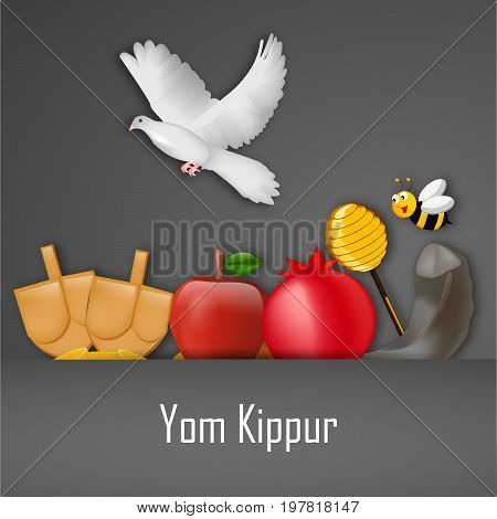 illustration of bee, pigeon, honey, apple, pomegranate, shofar with Yom Kippur text on the occasion of Yom Kippur
