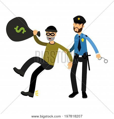 Police officer character arresting robber l vector Illustration on a white background