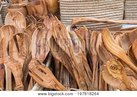 Handmade Olive Wood Tableware Sold At Local Market In Provence Region. France