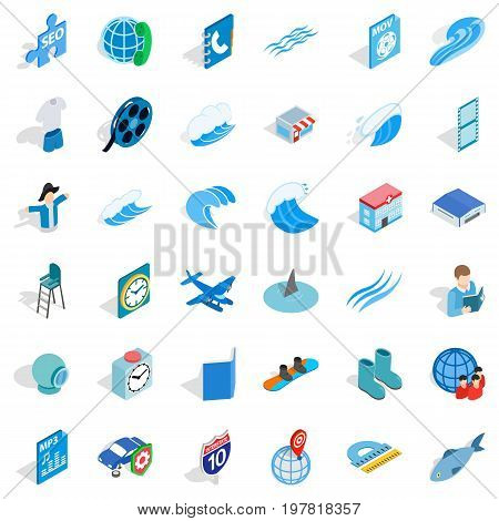 Blue plane icons set. Isometric style of 36 blue plane vector icons for web isolated on white background