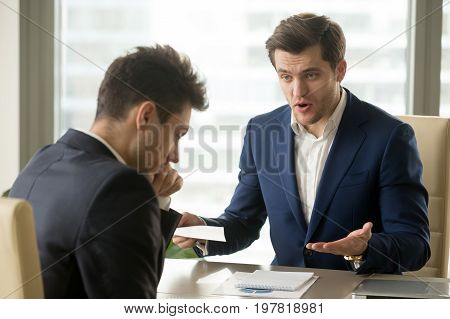 Angry mean boss yelling at employee for missing deadline, executive manager scolding ineffective salesman showing bad work results, firing worker for failure, team leader dissatisfied with report poster