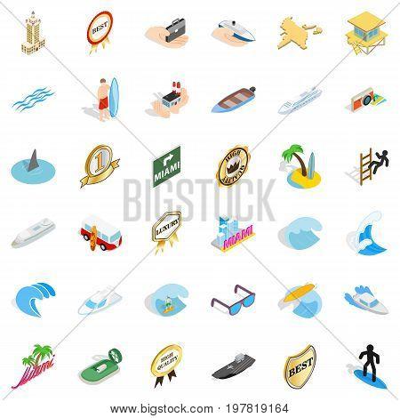 Marine icons set. Isometric style of 36 marine vector icons for web isolated on white background