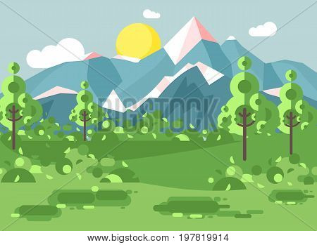Stock vector illustration cartoon nature national park landscape with bushes, lawn, trees, daytime sunny day with blue sky and white clouds outdoor background of mountains in flat style