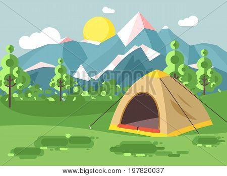 Stock vector illustration cartoon nature national park landscape with lonely tent camping hiking rules of survival bushes, lawn, trees, daytime sunny day, outdoor background of mountains in flat style