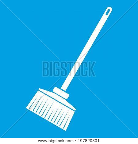Broom icon white isolated on blue background vector illustration