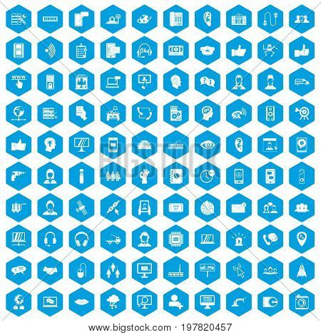 100 call center icons set in blue hexagon isolated vector illustration