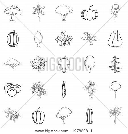 Greenery icons set. Outline set of 25 greenery vector icons for web isolated on white background