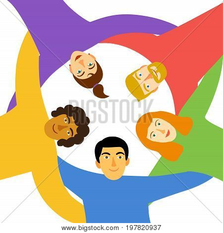 Group of young people in circle hugging and showing collaboration and friendship. Cartoon illustration about unity friendship team work & team spirit.