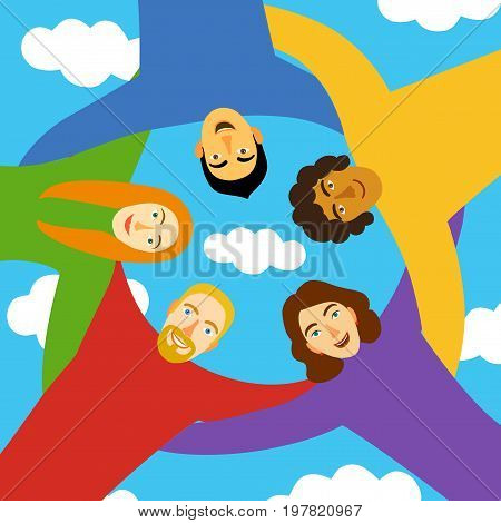 Group of young people in circle hugging each other on sky background. Cartoon illustration about unity friendship team work & team spirit.