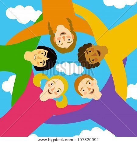 Group of children in circle hugging each other on sky background. Cartoon illustration about unity friendship team work & team spirit.
