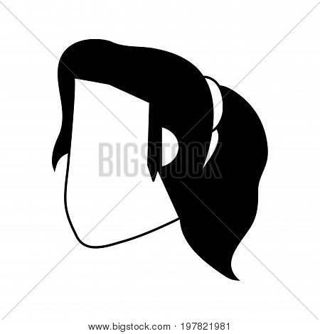 head of woman with ponytail avatar icon image vector illustration design  black and