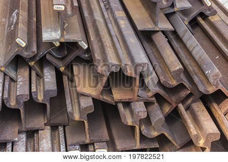 Stack Of Steel And Rusty Rail Profiles