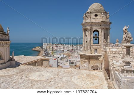 View from the Cathedral tower, Cadiz, Spain
