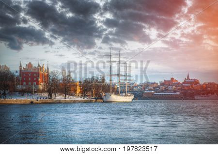 waterside scenery with sailing ship seen in Stockholm Sweden