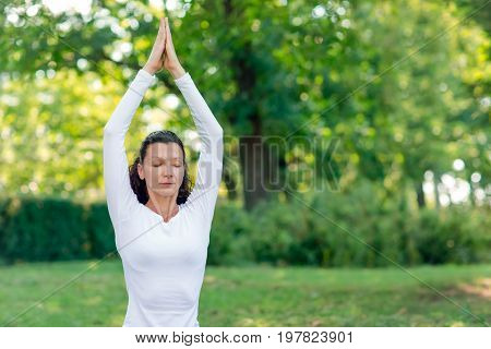 A wonderful brunette female is practicing asanas on a green park background. The attractive lady in casual clothes working out in the park. Simple morning exercises.