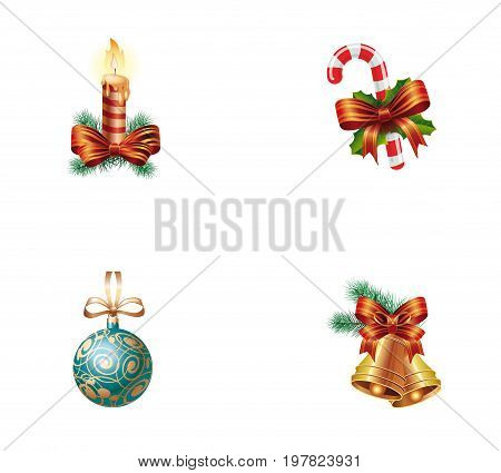 Christmas elements icons set. Candle with bow on Christmas tree Candy cane with ribbon Bauble on ribbon Bells with bow