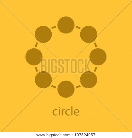 Circle symbol glyph color icon. Silhouette symbol. Community concept. Negative space. Vector isolated illustration