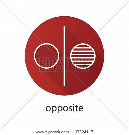 Opposite symbol flat linear long shadow icon. Opponents abstract metaphor. Division. Vector outline symbol