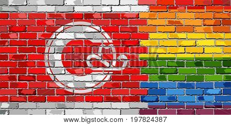 Brick Wall Calgary and Gay flags - Illustration, Rainbow flag on brick textured background,  Abstract grunge Calgary Flag and LGBT flag