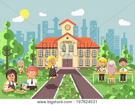 Stock vector illustration children characters schoolboy schoolgirl pupils apprentices classmates at schoolyard play chess dinner lunch, read book jumping rope on backdrop of school building flat style