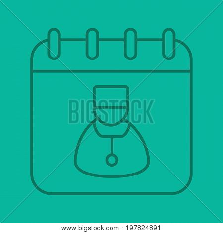 Doctor visits days linear icon. Physician schedule. Calendar page with doctor. Thin line outline symbols on color background. Vector illustration