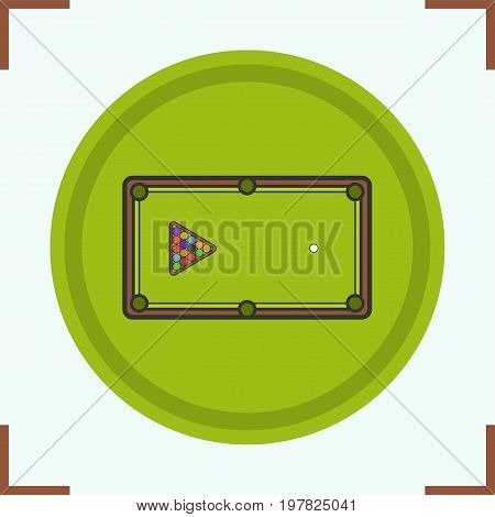 Billiard table color icon. Pool table with triangle balls rack. Isolated vector illustration