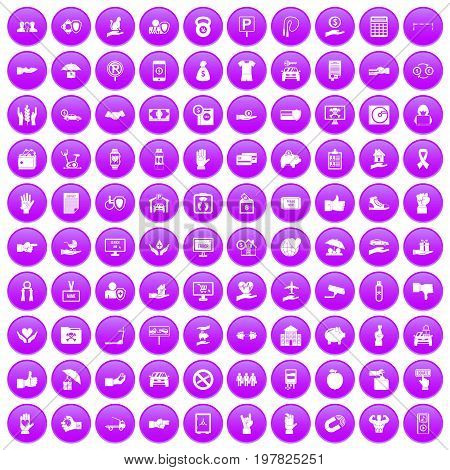 100 hand icons set in purple circle isolated vector illustration