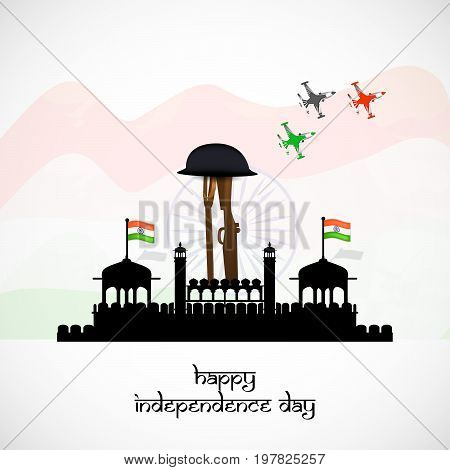 illustration of fort, rifle, gun and hat face with happy Independence Day text on the occasion of India Independence day