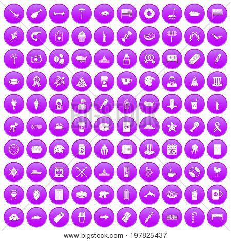 100 USA icons set in purple circle isolated on white vector illustration
