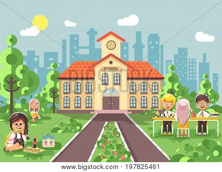 Stock vector illustration children characters schoolboy schoolgirl pupils apprentices classmates at schoolyard play chess, sit on grass dinner lunch, read book backdrop of school building flat style