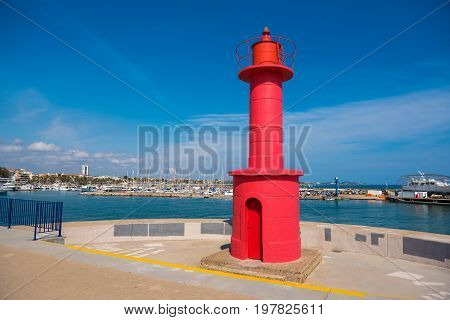 Red Lighthouse In Cambrils, Catalunya, Spain. Copy Space For Text.