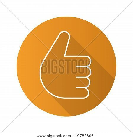 Thumbs up hand gesture. Flat linear long shadow icon. Approval and like sign. Vector outline symbol